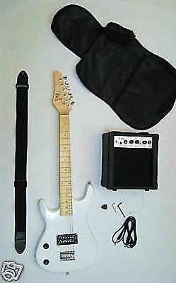 WHITE Junior Kids Mini 3/4 electric guitar Amp Starter Pack,