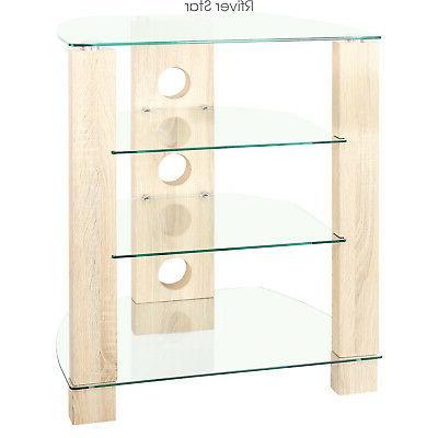 wood av component media stand stereo cabinet
