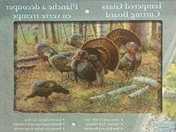 large tempered glass cutting board turkey themed