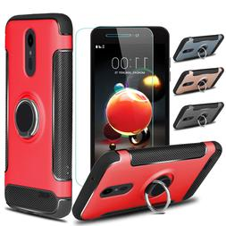 For LG Aristo 2 Plus Shockproof Stand Case Cover Tempered Gl