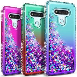 For LG Stylo 6 Case Liquid Glitter Bling Phone Cover + Tempe