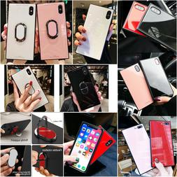 Luxury Tempered Glass Magnetic Stand Ring Square Case Cover