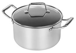 MAKER Homeware 5 Quart Stainless Steel Covered Dutch Oven wi