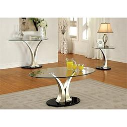 Furniture of America Mansa 2 Piece Glass-Top Table Set in Sa