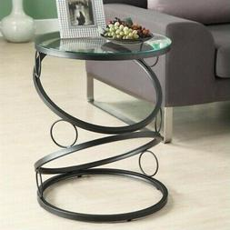 Monarch Specialties MATTE BLACK METAL ACCENT TABLE WITH TEMP