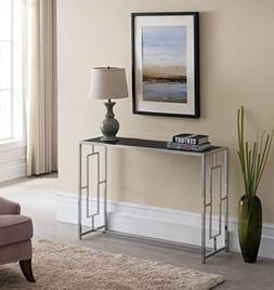 Modern Chrome Finish / Black Glass Top Console Sofa Table wi