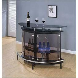 Modern Pub Home Bar Black Table Smoked Acrylic Front Storage