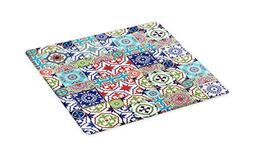 Lunarable Moroccan Cutting Board, Patchwork Pattern from Col