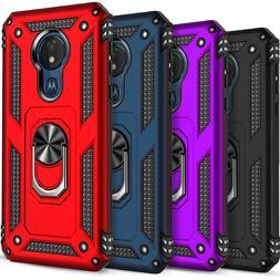 For Moto G7 Power Case, Ring Holder Kickstand Cover + Temper