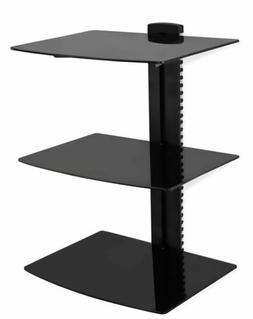 Mount-It! Floating Wall Mounted 3 Tempered Glasses Shelf Sta