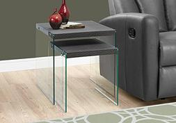 Monarch Specialties I 3221,Nesting Table, Tempered Glass, Gr