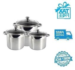 New 3pc Stainless Steel Stockpot Soup Pot Cookware w Tempere