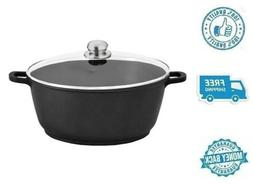 New 7Qt Nonstick Aluminum Stockpot Black Soup Pot with Tempe