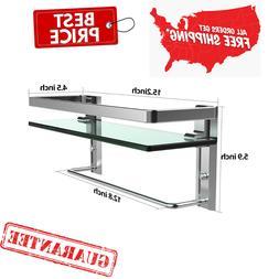 New Bathroom Shelf,Tempered Glass Floating Shelves Wall Moun
