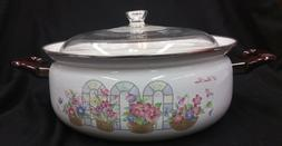 "New Japan Steel Enamel Covered Stock Pot 2pc 14"" 6.5L Temper"