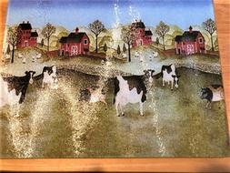 NEW Tempered Glass Cutting Board COWS Heat Resistant Country