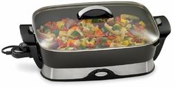 Non-Stick Electric Skillet Buffet Server Tempered Glass Cove