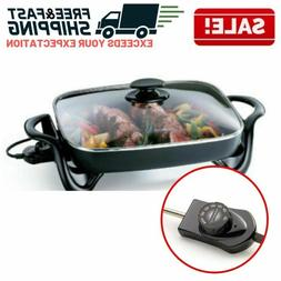 Non Stick Electric Skillet Tempered Glass Cover Lid Cooking