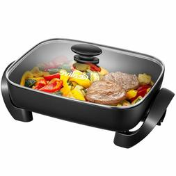 nonstick electric skillet with tempered glass vented