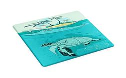 Ambesonne Ocean Cutting Board, Sea Turtle Swimming Coral Ree
