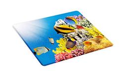 Ambesonne Ocean Cutting Board, Coral Colony on a Reef Top in