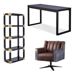 3 Piece Office Set Desk with Executive Office Chair and Book