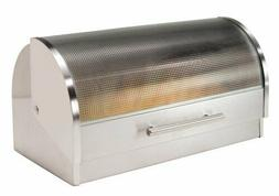 Oggi Stainless Steel Roll Top Bread Box with Tempered Glass