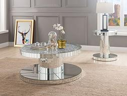 """Acme Ornat 20"""" Round Glass Top Mirrored End Table"""