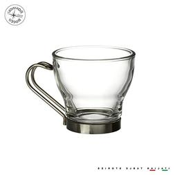 Bormioli Rocco Oslo Espresso Cup With SS Handle 3.5oz Set of