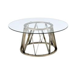 ACME Perjan Antique Brass Coffee Table with Glass Top