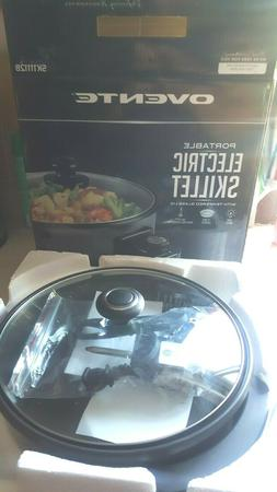 Ovente Portable Electric Skillet with Tempered Glass Cover/L