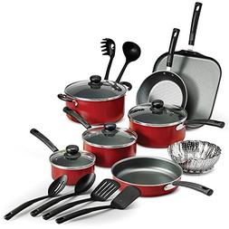 Tramontina PrimaWare 18-Piece Nonstick Cookware Set Red Sauc
