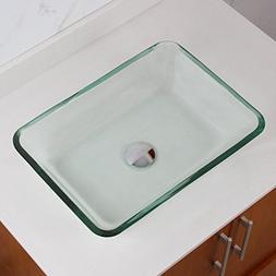 ELITE Rectangle Transparent Tempered Glass Bathroom Vessel S