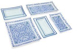 GAC 11 Piece Rectangular Blue Dinnerware Set Tempered Glass