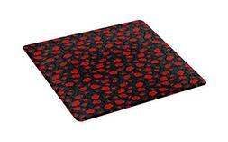 Ambesonne Red and Black Cutting Board, Rose Swirls Ivy Plant