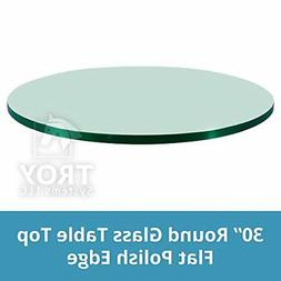 "TroySys Round Glass Table Top, 3/8"" Thick, Flat Polish Edge,"