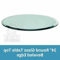 "TroySys Glass Table Top, Beveled Edge, Tempered Glass, 24"" L"