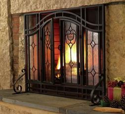 Rustic Fireplace Screen Flat Elegant Beveled With Glass Door