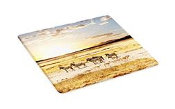 Lunarable Safari Cutting Board, Zebras with Their Striped Co