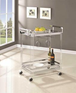 serving bar cart chrome clear tempered glass