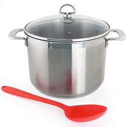 Chantal SLIN33-240 Induction 21 Steel Stockpot with Glass Te
