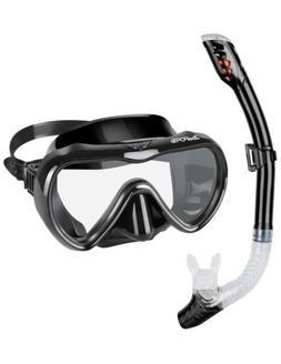Snorkel Set, Anti-Fog Tempered Glass Panoramic Diving Mask