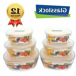 Glasslock Square 12 pcs Assorted Safety Tempered Glass Food
