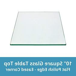 Square Glass Table Top 10 Inch Custom Annealed Clear Tempere