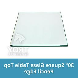 TroySys Square Glass Table Top Custom Annealed Clear Tempere
