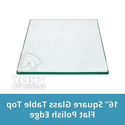 TroySys Square Glass Table Top 16 Inch Custom Annealed Clear