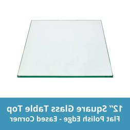 Square Glass Table Top 12 Inch Custom Annealed Clear Tempere