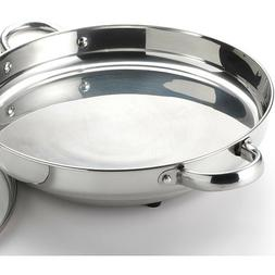 Stainless Steel Electric Skillet With Tempered Glass Lid 11.