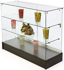 Free-Standing Tempered Glass Display Case, 48 x 38 x 18-1/4-
