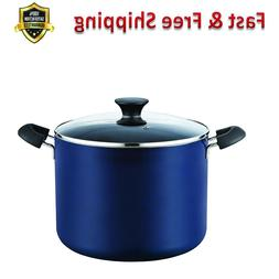 Stockpot 10.5 Quart Non Stick Durable Tempered Glass Lid Blu